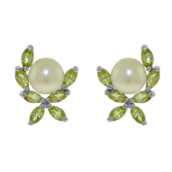 Genuine 3.25 ctw Pearl & Peridot Earrings 14KT White Gold - REF-30R2P