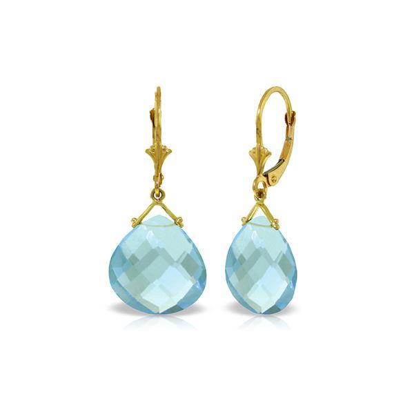 Genuine 17 ctw Blue Topaz Earrings 14KT Yellow Gold - REF-38M2T
