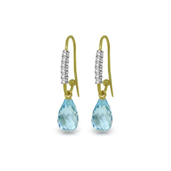 Genuine 4.68 ctw Blue Topaz & Diamond Earrings 14KT Yellow Gold - REF-40F7Z
