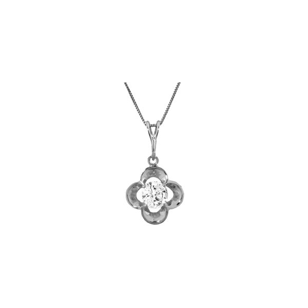 Genuine 0.50 ctw Diamond Anniversary Necklace 14KT White Gold - REF-143P9H