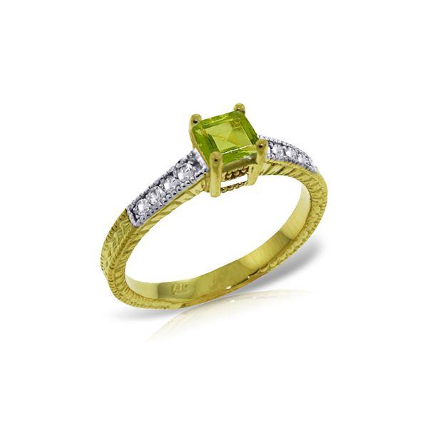 Genuine 0.65 ctw Peridot & Diamond Ring 14KT Yellow Gold - REF-69Y6F