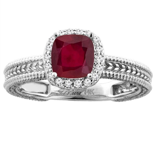 2.30 CTW Ruby & Diamond Ring 14K White Gold - REF-51F9N