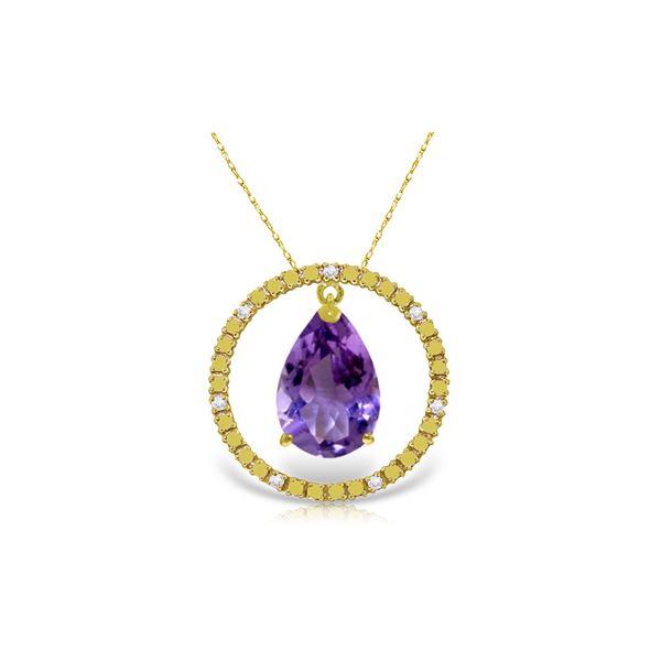 Genuine 6.6 ctw Amethyst & Diamond Necklace 14KT Yellow Gold - REF-52H9X