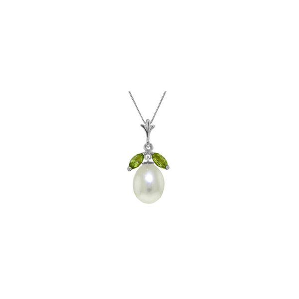 Genuine 4.5 ctw Pearl & Peridot Necklace 14KT White Gold - REF-24T3A