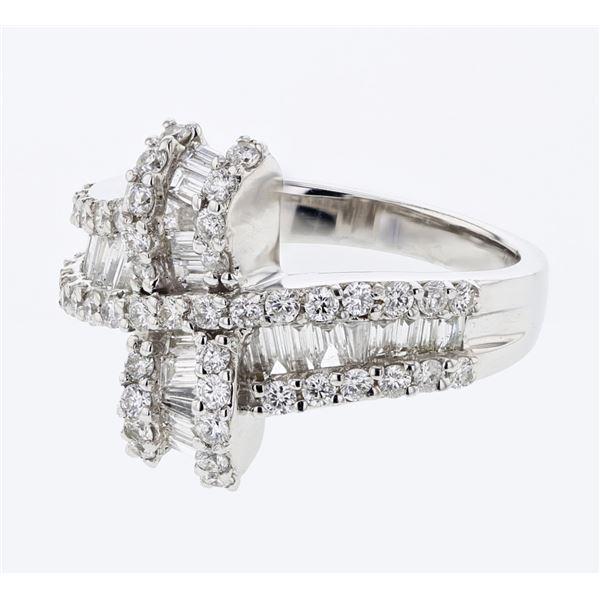 Natural 1.41 CTW Baguette & Diamond Ring 18K White Gold - REF-190F8M
