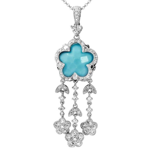 Natural 5.34 CTW Turquoise & Diamond Necklace 14K White Gold - REF-92K7R
