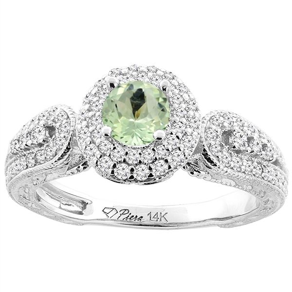 0.92 CTW Amethyst & Diamond Ring 14K White Gold - REF-88W7F