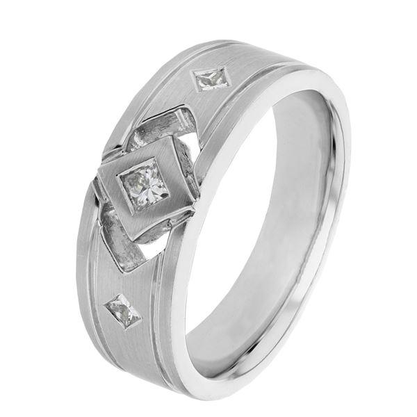 Natural 0.36 CTW Princess Diamond Ring 14K White Gold - REF-140F4M