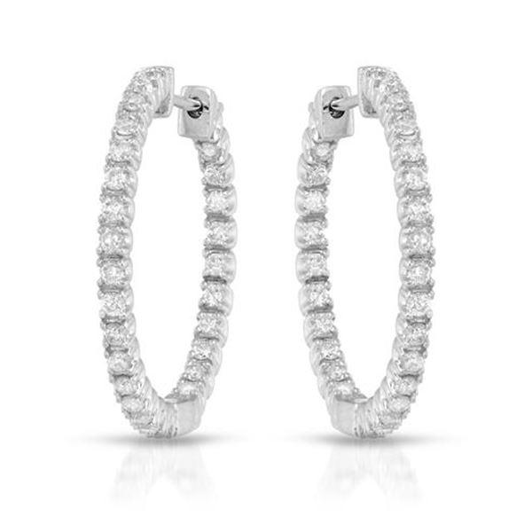 Natural 1.12 CTW Diamond Earrings 14K White Gold - REF-110W7H