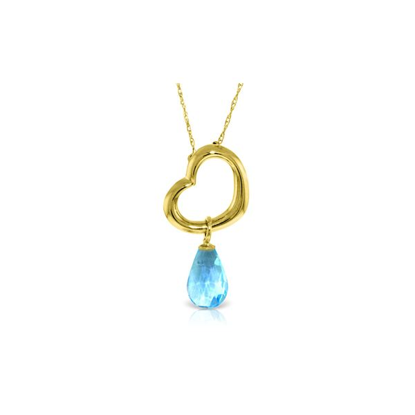 Genuine 2.25 ctw Blue Topaz Necklace 14KT Yellow Gold - REF-27T4A