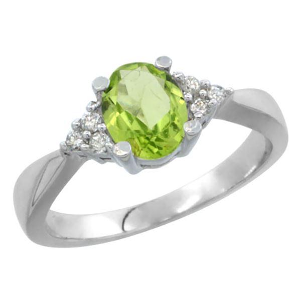 1.06 CTW Peridot & Diamond Ring 14K White Gold - REF-36H9M