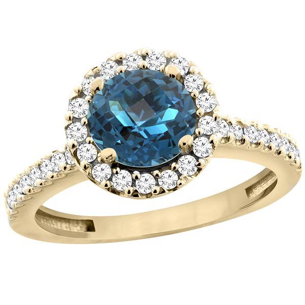 1.38 CTW London Blue Topaz & Diamond Ring 14K Yellow Gold - REF-61Y2V