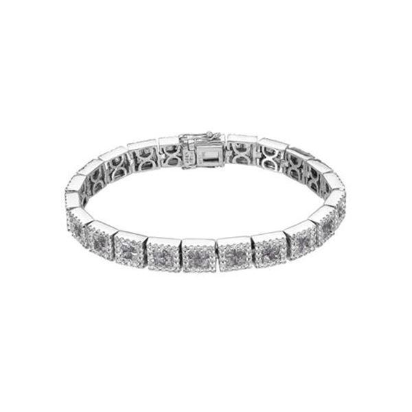 Natural 11.04 CTW Pink Sapphire & Diamond Bracelet 14K White Gold - REF-453T6X