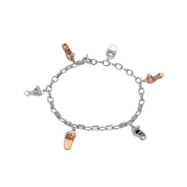 Natural 0.16 CTW Diamond & Bracelet 14K Two Tone Rose Gold - REF-114F3M