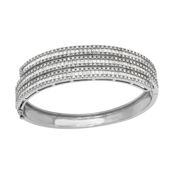 Natural 6.20 CTW Diamond & Princess Diamond Bangle 18K White Gold - REF-1005K3R