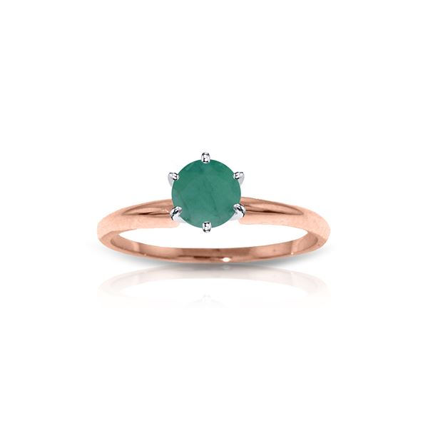 Genuine 0.65 ctw Emerald Ring 14KT Rose Gold - REF-28Y5F