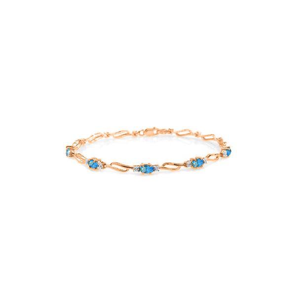 Genuine 3.39 ctw Blue Topaz & Diamond Bracelet 14KT Rose Gold - REF-82M5T