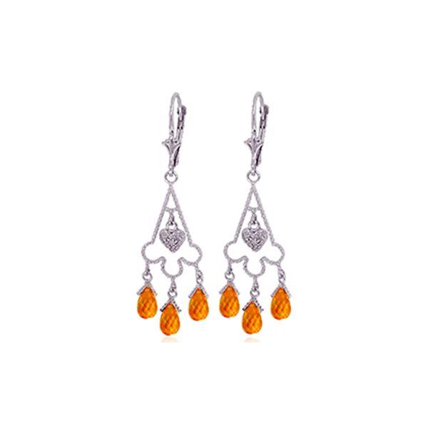 Genuine 4.23 ctw Citrine & Diamond Earrings 14KT White Gold - REF-52H3X