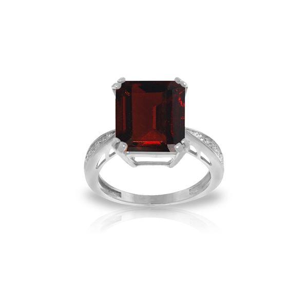 Genuine 7.52 ctw Garnet & Diamond Ring 14KT White Gold - REF-91V3W