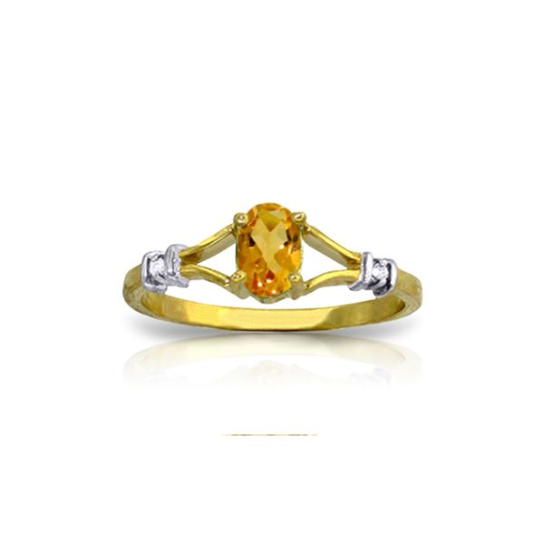 Genuine 0.46 ctw Citrine & Diamond Ring 14KT Yellow Gold - REF-27N2R
