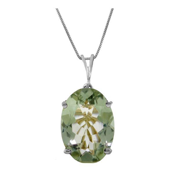 Genuine 7.55 ctw Green Amethyst Necklace 14KT White Gold - REF-35A9K