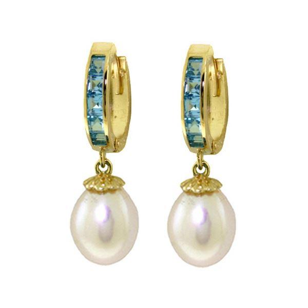 Genuine 9.3 ctw Blue Topaz & Pearl Earrings 14KT Yellow Gold - REF-44N4R