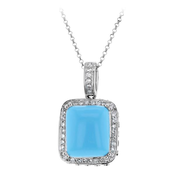 Natural 7.46 CTW Turquoise & Diamond Necklace 14K White Gold - REF-92N7Y