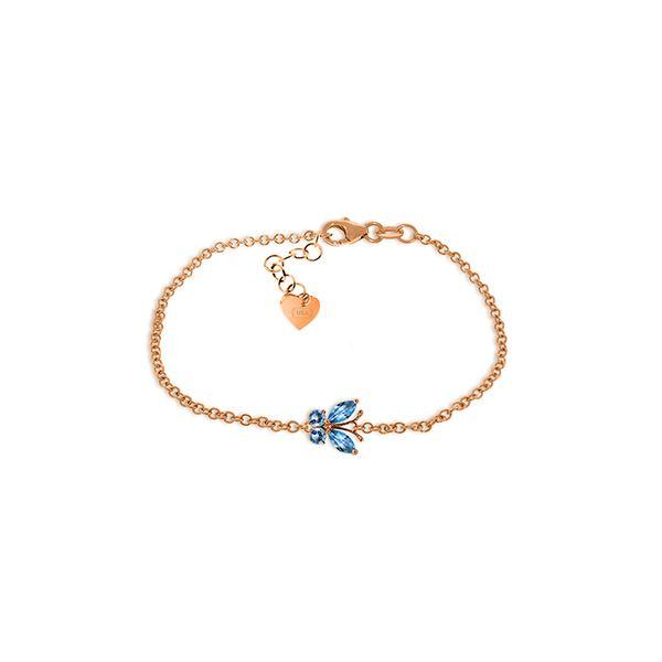 Genuine 0.60 ctw Blue Topaz Bracelet 14KT Rose Gold - REF-41H6X
