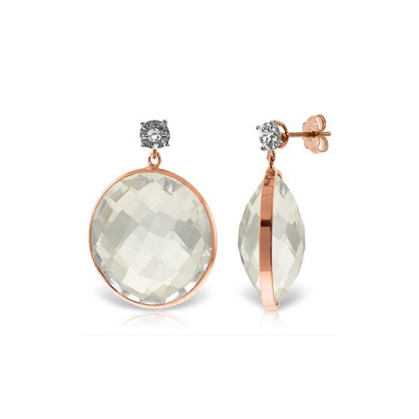 Genuine 36.06 ctw White Topaz & Diamond Earrings 14KT Rose Gold - REF-56V3W