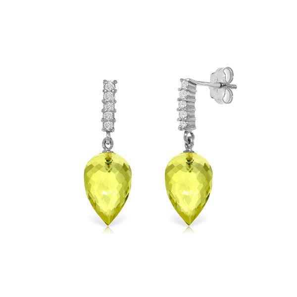 Genuine 18.15 ctw Lemon Quartz & Diamond Earrings 14KT White Gold - REF-41N2R