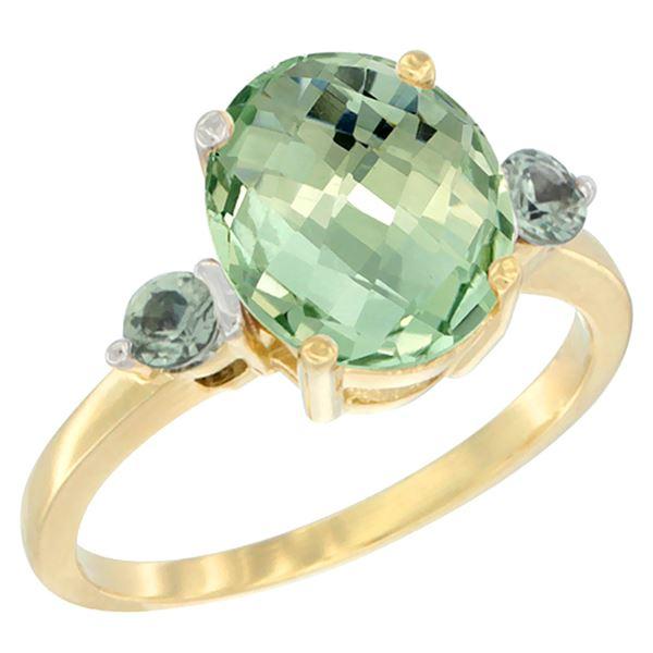 2.64 CTW Amethyst & Green Sapphire Ring 14K Yellow Gold - REF-32F3N