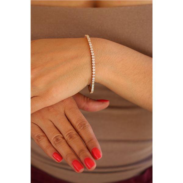 Natural 5.04 ctw Diamond Eternity Tennis Bracelet 18K Rose Gold - REF-398N2A