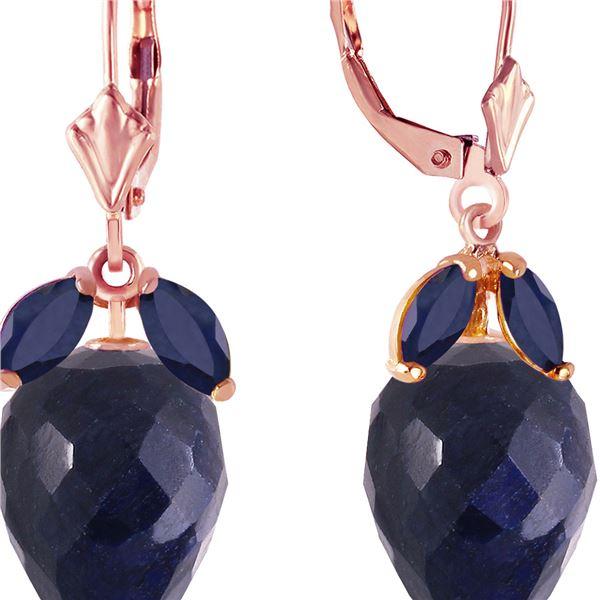 Genuine 26.8 ctw Sapphire Earrings 14KT Rose Gold - REF-59A9K