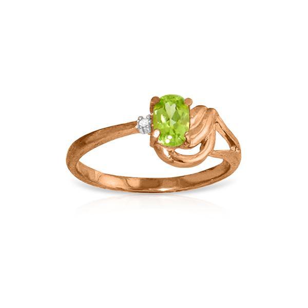 Genuine 0.46 ctw Peridot & Diamond Ring 14KT Rose Gold - REF-30F6Z