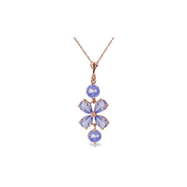 Genuine 3.15 ctw Tanzanite Necklace 14KT Rose Gold - REF-45M5T