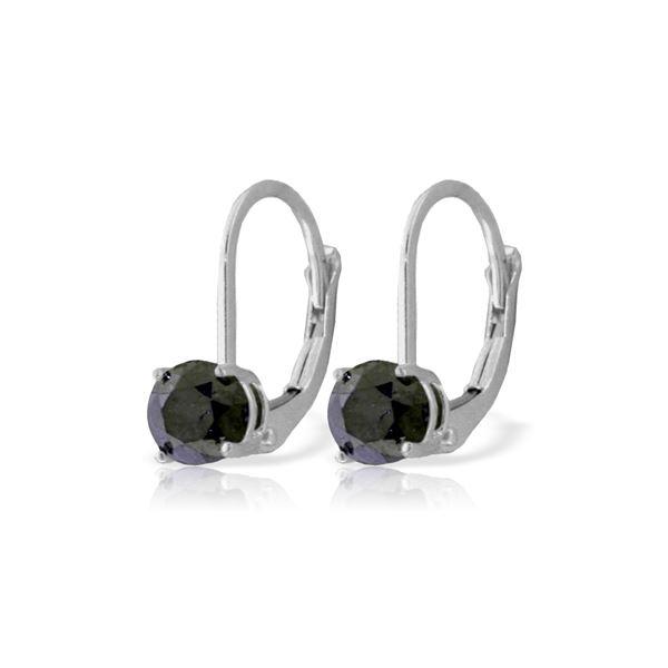 Genuine 1.0 ctw Black Diamond Earrings 14KT White Gold - REF-57H6X