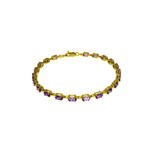 Genuine 5.5 ctw Amethyst Bracelet 14KT White Gold - REF-96W4Y