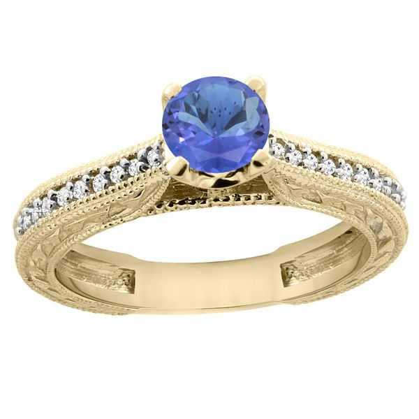 0.74 CTW Tanzanite & Diamond Ring 14K Yellow Gold - REF-55X9M