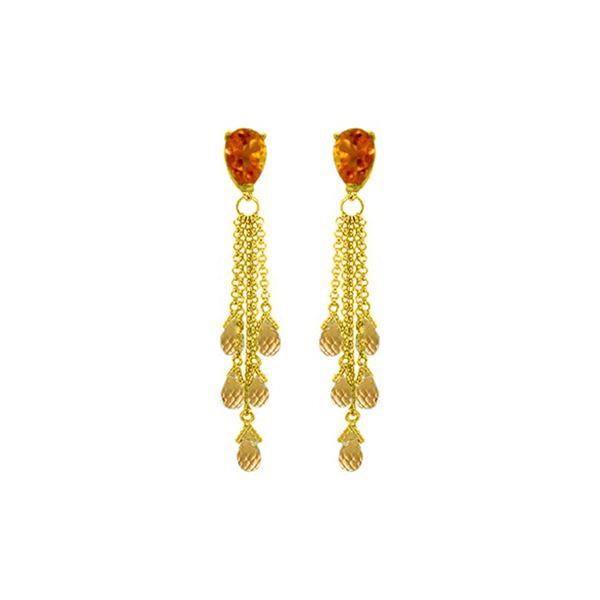 Genuine 15.5 ctw Citrine Earrings 14KT Yellow Gold - REF-51V8W