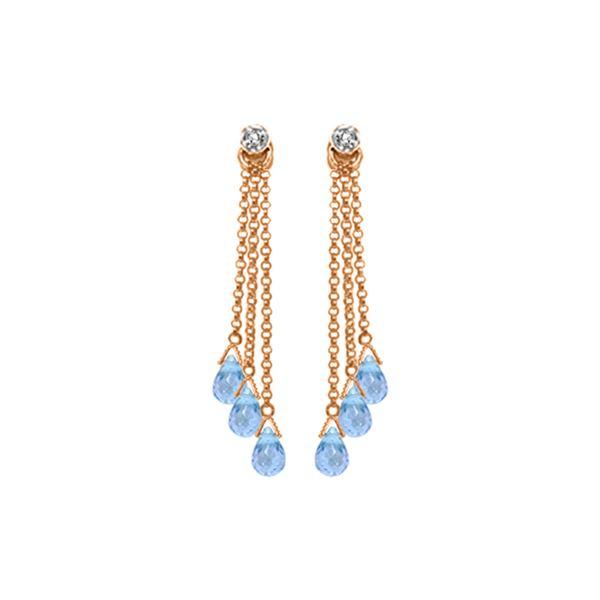 Genuine 10.53 ctw Blue Topaz & Diamond Earrings 14KT Rose Gold - REF-34V7W