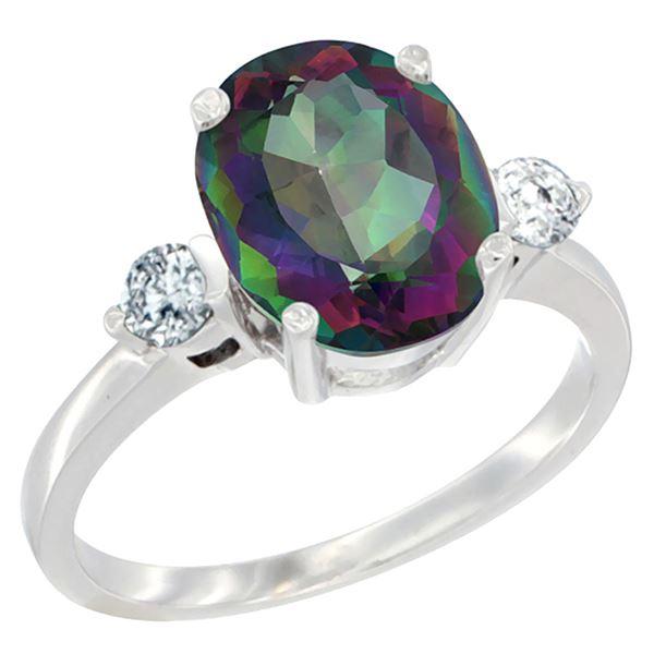 2.60 CTW Mystic Topaz & Diamond Ring 14K White Gold - REF-68K6W