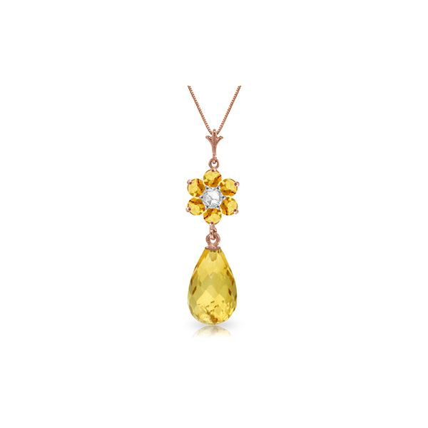 Genuine 2.78 ctw Citrine & Diamond Necklace 14KT Rose Gold - REF-31R2P