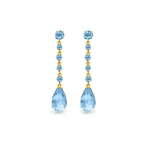 Genuine 23 ctw Blue Topaz Earrings 14KT Yellow Gold - REF-50K6V