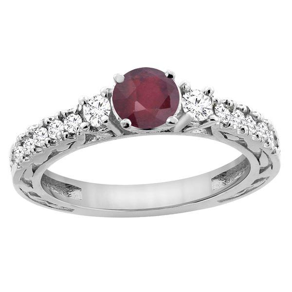 1.40 CTW Ruby & Diamond Ring 14K White Gold - REF-80X2M