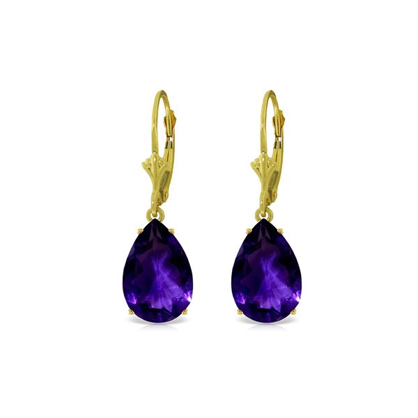 Genuine 10 ctw Amethyst Earrings 14KT Yellow Gold - REF-45K3V