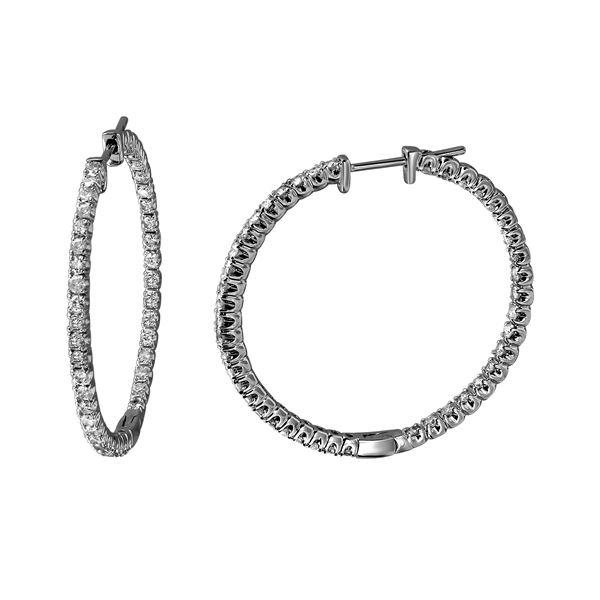 1.68 CTW White Round Diamond Hoop  Earring 14K White Gold - REF-181N8A