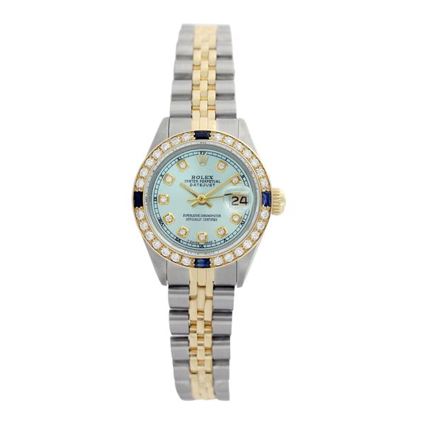 Rolex Pre-owned 26mm Womens Custom Ice Blue Two Tone