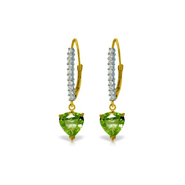 Genuine 3.55 ctw Peridot & Diamond Earrings 14KT Yellow Gold - REF-62K2V