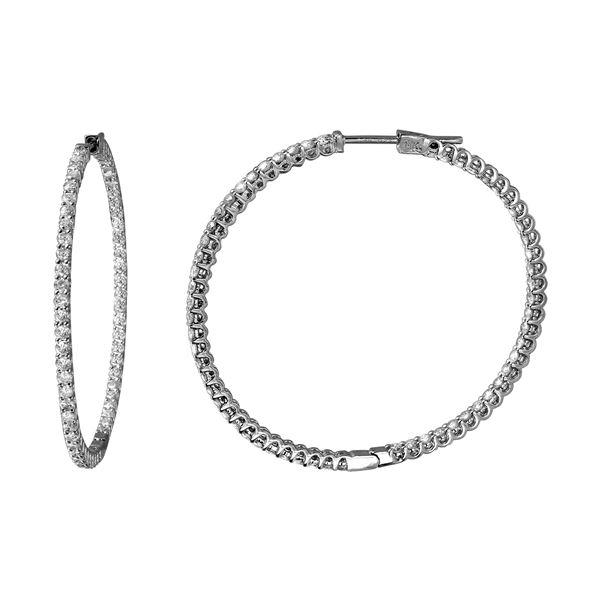 2.08 CTW White Round Diamond Hoop Earring 14K White Gold - REF-190W9K