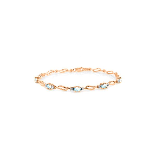 Genuine 3.39 ctw Aquamarine & Diamond Bracelet 14KT Rose Gold - REF-102T8A
